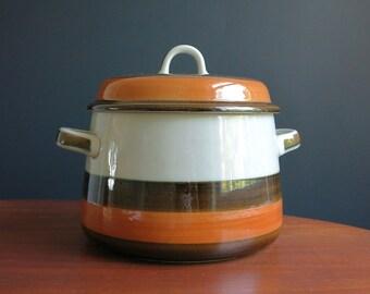 Rorstrand Annika 2 Qt Casserole - Rörstrand Sweden Serving Dish - Marianne Westmann Design - 1970s Swedish Danish Modern - Brown Orange