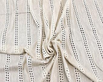 Open Weave Oatmeal Cream Stripe Stretch Knit Fabric - 1 Yard Style 6240