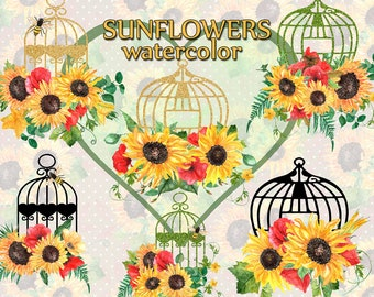 """Watercolor Sunflower Clipart: """"FLORAL BIRDCAGE"""" Yellow flowers Watercolor flowers Wedding clipart DIY invites Greeting card Autumn bouquets"""