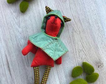 Fox plush / fabric doll handmade, rag doll, heirloom doll