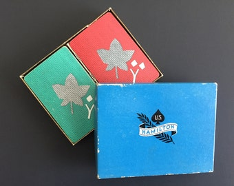 Vintage US Hamilton Playing Cards- Two Decks in Box- Red and Green with Mid-Century Leaf