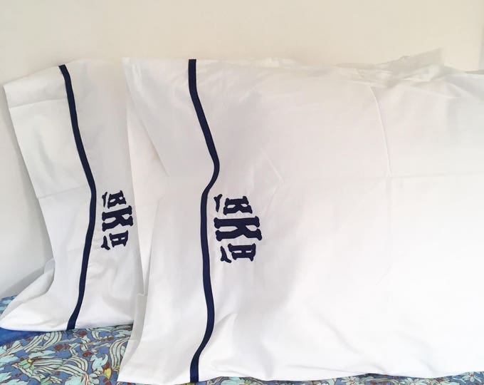 Featured listing image: Monogram Appliqué King Pillow Cases with Ribbon Trim / Monogram Bedding - Set of 2