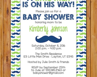 Little Man Mustache Baby Shower Invitation Navy Blue Lime Green Baby Boy Invite Printable 5x7 Digital JPG File (158)