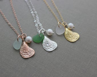 Oyster shell necklace - Choice of sterling, rose or gold fill - Genuine Sea Glass - pearl Personalized - Beach Jewelry - sea life jewelry