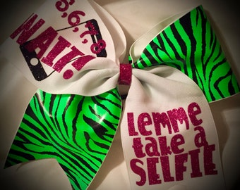 Cheer Bow Wait! Lemme Take a SELFIE Bow~Zebra CHEER Bow Tick Tock Hair Bow Available in White or Black