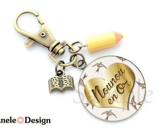 Nanny Keyring - Nanny in gold - Pompom Christmas gift