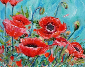 Poppies Print Red Oil Painting Red Flowers Square Palette Knife