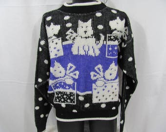Vintage Girls 80s/90s Knit Puppy Dog Pullover Sweater Black and Purple Presents Christmas / Birthday Puppy Suprise Sweater Hipster Kid Cozy