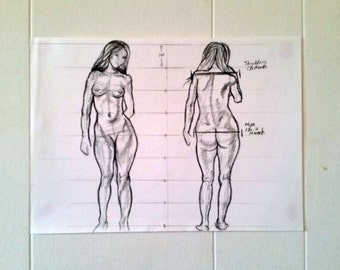 Original Artwork Figure Proportion Study in Charcoal - Gift - Art - New Year