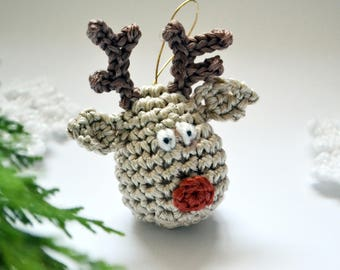 Crochet Reindeer Christmas Decoration Pattern, Crochet Christmas Ornament, Crochet hanging ornament, Reindeer Ornament pattern, rudolph