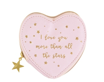 Mothers day gift, Pink and gold star design make up bag / purse / pouch / cosmetic / toiletry