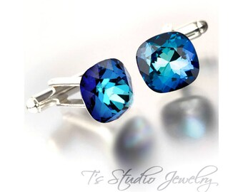 Peacock Bermuda Blue Cufflinks - Cushion Cut Cuff Links - Available in your choice of colors