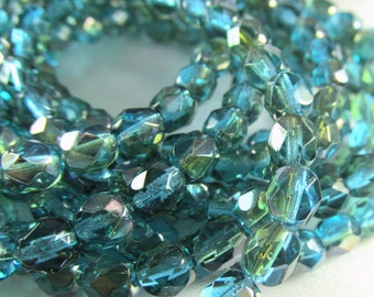 Aqua Teal Luster Czech 6mm Fire Polished faceted fire polished jewelry beads (30)
