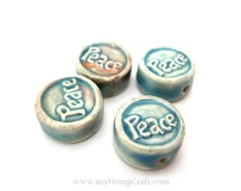 4pc Ceramic Peace Beads, Ceramic Clay Beads, 12mm