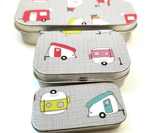 Small, Medium, and Large tin trio . . . Let's camp! Vintage campers in bright colors.