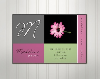 Personalized Girl's Room Sign, Daisy Blocks, Girls Birth Stats Wall Decor, Personalized Sign, Personalized Childrens Nursery Art