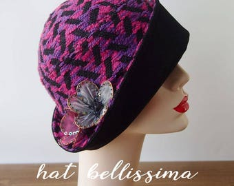 SALE purple 1920's  Hat Vintage Style hat winter Hats hatbellissima ladies hats millinery hats cloche Hats