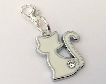Snow White Cat Clip-On Zipper Charm - purse bracelet handbag silver enamel charm