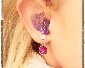 Hearing Aid Charms:  Beautiful Crystal Jewel Drops with Czech Glass Accent Beads!