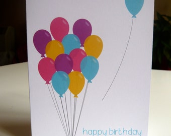 Colourful birthday card with bunch of balloons