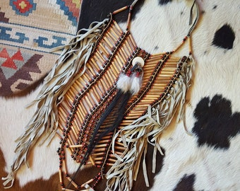 Native American Indian Chest Plate - Bohemian statement hair bone beaded necklace leather fringe