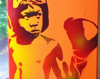 Boxer 2 painting stencil art spray paints canvas orange red wall art urban art street art sport gloves boxing custom culture made to order