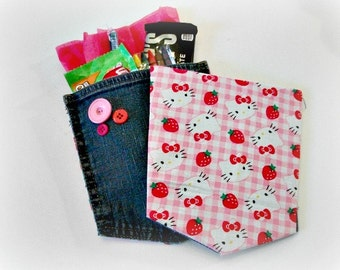 Hello Kitty Favors, HK Party Favors, Hello Kitty Birthday, Upcycled Denim, Party Decorations, Birthday Favors, Goody Bags, Hello Kitty Party