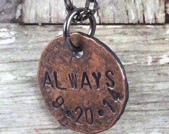 Bridal Gift, Personalized Penny Charm Necklace, Custom Bridal Necklace, Bridal Shower Gift, Personalized Wedding Gift Idea, Bride Gift