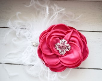 Handcrafted Hot Pink and White Over the Top Bow - Ostrich Feather Hair Clip - Rose French Barrette - Fancy Bows - Vintage Style Rose Bows