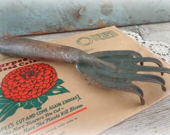 vintage primitive garden tool fork claw rake gardening decor spring