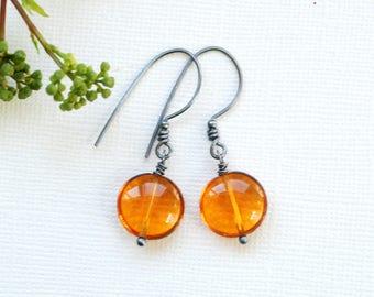 Dark Yellow Earrings, Amber Glass Earrings, Honey Yellow Earrings, Summer Earrings, Secret Garden, Yellow Wedding, Oxidized Sterling Silver