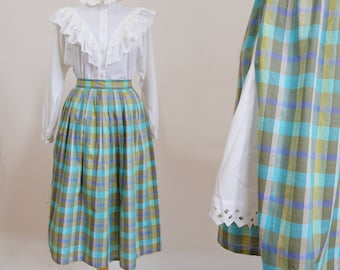 SALE Vintage Peasant Plaid Skirt Green Teal blue Purple White Underskirt Lace detail Pleated skirt Shubby chic Romantic style Vintage 80s