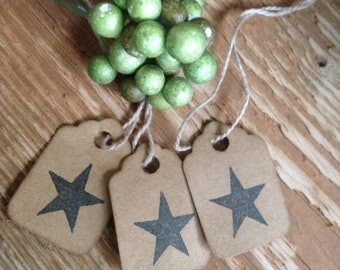50 Tiny Primitive Star Stamped Tags Coffee Stained Gift Tags Patriotic Hang Tags Strung scalloped edge  Tags
