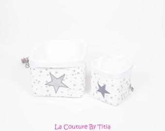 Set of 2 baskets storage baskets handmade white stars gray, silver @lacouturebytitia