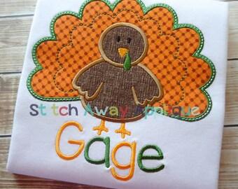 Boy Turkey Thanksgiving Fall Machine Applique Design