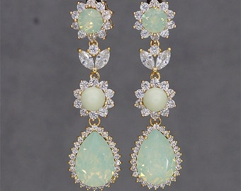 Mint Green Earrings, Gold Bridal Earrings, Chandelier Earrings, Mint Bridesmaids Jewelry, Swarovski CHRYSOLITE OPAL Crystal jewellery
