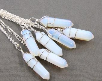 Opal Necklace, Crystal Quartz Necklace, Geode Necklace, Point Wire Wrap Necklace Jewelry, Druzy Necklace, Stone Necklace, Bohemian Necklace