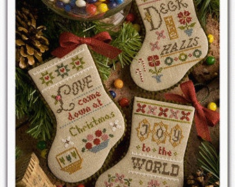 LIZZIE*KATE Flora McSample's 2015 Stockings INCLUDES embellishments cross stitch patterns at thecottageneedle.com Christmas Winter December