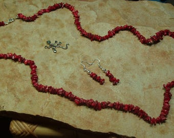 Natural Untreated AAA Grade Quality 1 or 2 Strand Red Coral Chip Necklace and Earrings