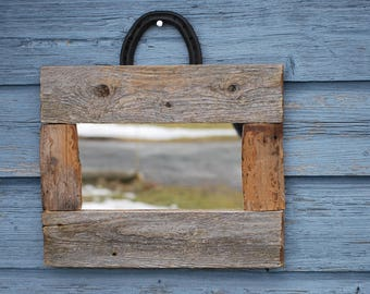 Mirror rustic recycled barn wood with Horseshoe
