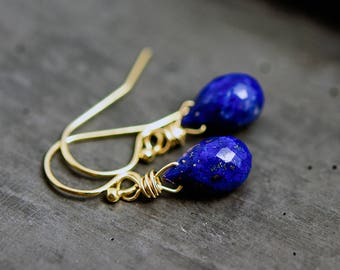 Lapis Lazuli Drop Earrings, Cobalt Blue Gemstone, Gold Earrings, Dangle Earrings, Drop Earrings, Crystal Earrings