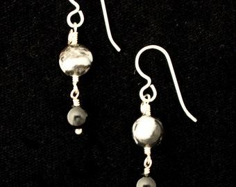 Zebra Jasper, Black Onyx and Silver Earrings