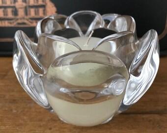 Vintage Glass Lotus Shaped Candle Holder