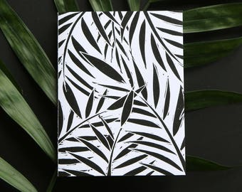 Original Black & White Linocut Tropical Leaves Note Card