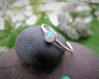 Opal Stacking Ring, Non-Traditional Engagement Ring, Minimal Silver Ring, October Birthstone, Hammered engagement Ring