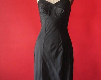 Vintage 60's Black Floral Embroidered Slip Dress by Kayser, size 32