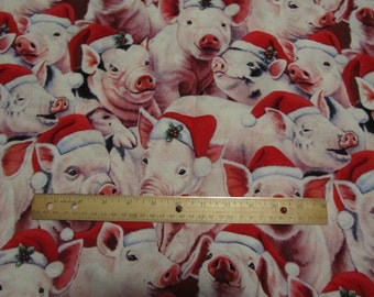 29 x 43 Inches Pigs with Christmas Stocking Cotton Fabric Remnant