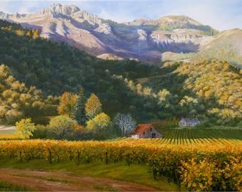 Art Print On Canvas Or Paper September Vineyards