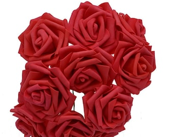 set of 5 pretty artificial flowers in the shape of rose - red
