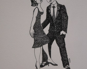 POINT of view, original drawing, ink, couple, love, seduction